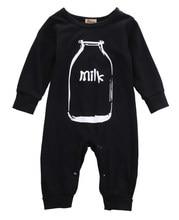 Детский Теплый хлопковый комбинезон с длинными рукавами и рисунком черного молока для мальчиков и девочек, сезон осень-зима