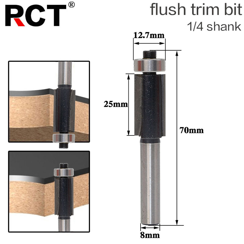 1Pc 8 SHANK Flush Trim Router Bit End Bearing For Woodworking Cutting Tool 1pc extra long flush trim router bit 1 4 shank x 3 8 cutting diameter x 2 height for woodworking milling cutter
