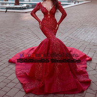 Robe Marriage Luxurious Wedding Dress Long Sleeves Mermaid Bridal Gowns 2019 Red Appliques Beading Dubai Arabic Wedding Dresses