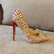 Free shipping fashion women Pumps lady Nude patent leather studded spikes Pointy toe high heels shoes size33-43 12cm 10cm 8cm free shipping fashion women pumps pink patent leather studded spikes pointed toe high heels shoes pumps 12cm 10cm 8cm stiletto