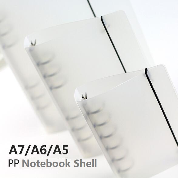 Creative B5/A5/A6/A7 PP Notebook Accessory Sheet Shell Office School Stationery Transparent Concise 6 Holes Binder Planner Cover a5b5 silver coil pp frosted cover notebook office school papelaria multifunctional organizer diario elastic binder planner