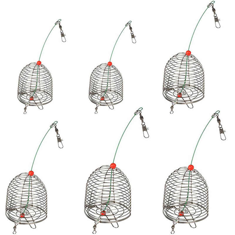 Stainless Steel Wire Fishing Bait Conical Cage Carp Fishing Accessory Bait Thrower Fishing Lure Trap Basket Feeder Holder