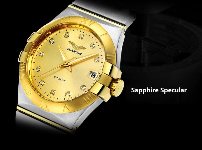 GUANQIN Gold Couple Watches Men Automatic Mechanical Watch Women Quartz Watch Luxury Lover Watch Waterproof Fashion Wristwatches (7)