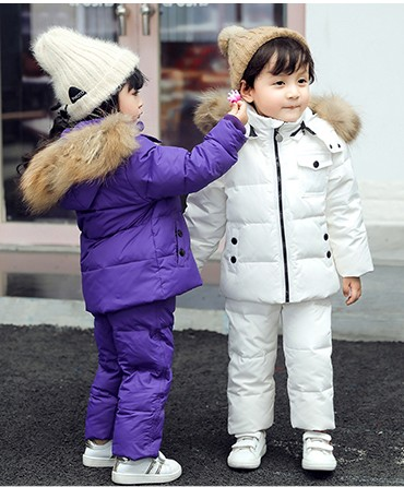 New Baby girl boy fur hooded coat Snow wear Jacket+ bib pants overall duck down clothes sets 2 3 4 5 children kids girl boy new winter children clothes sets boy and girl baby duck down jacket thick warm lining fleece hooded two piece down coat 83250