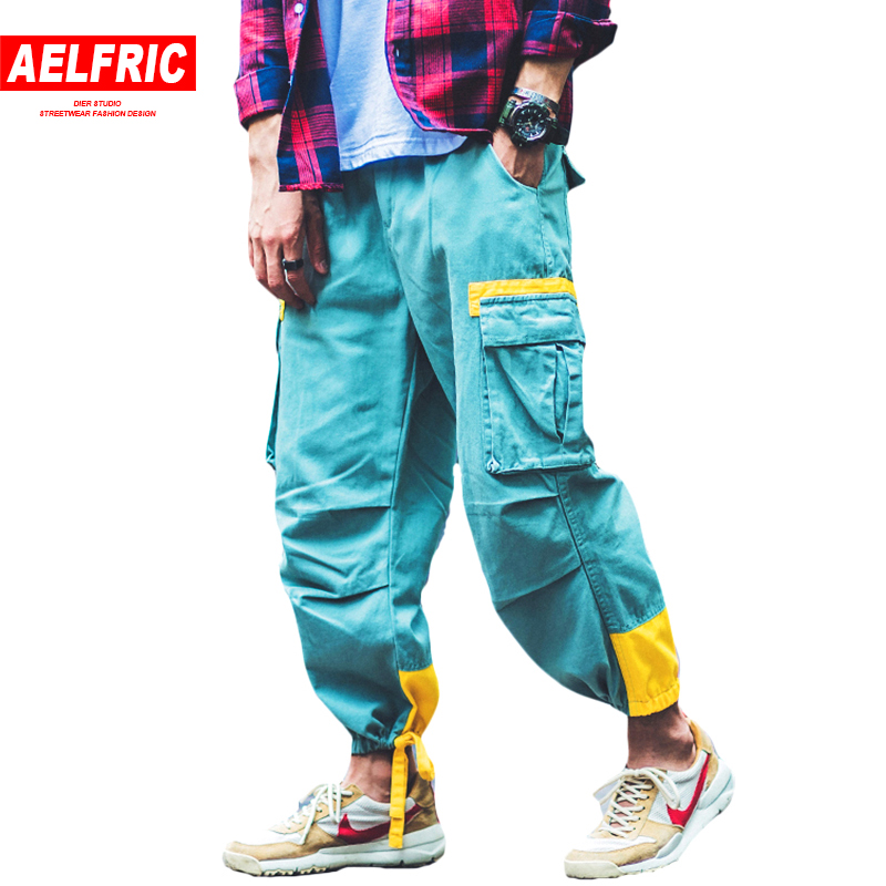 Aelfric Eden Autumn Mens Joggers Fashion Cargo Pants Pockets Bandages Feet Casual Sweatpants Hip Hop Swag Harem Trousers B033