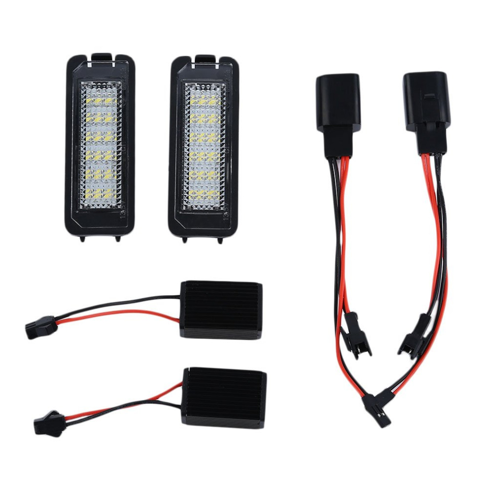 1Pair 18LED 12V 200mA License Number Plate Light Lamp Car-Styling For VW Golf4 Golf5 Golf6 GTI With Decoding No Alarm 2pcs led rear back car license plate light lamp for vw golf4 golf6 polo passat car super white bright 12v car styling