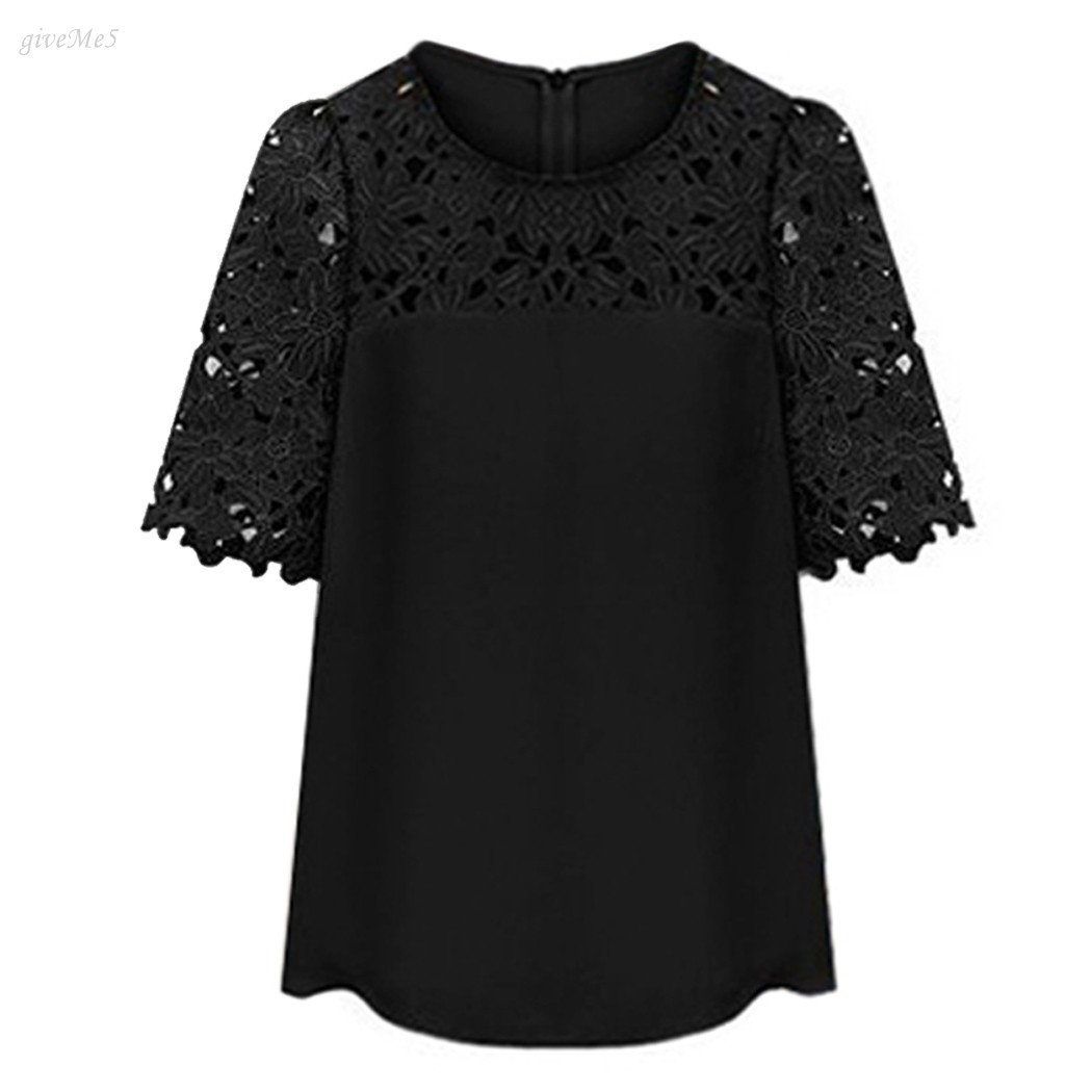 Mujeres Encaje manga chiffion blusa Blusas magnífico Camisas manga corta  Hollow crochet Tops B26 54ba565dd371e