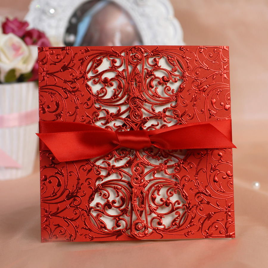 Free Print 50pcs Lot Lace Laser Cut Red Wedding Invitation Card Customised Cards With Ribbonchinese Favors In Invitations From