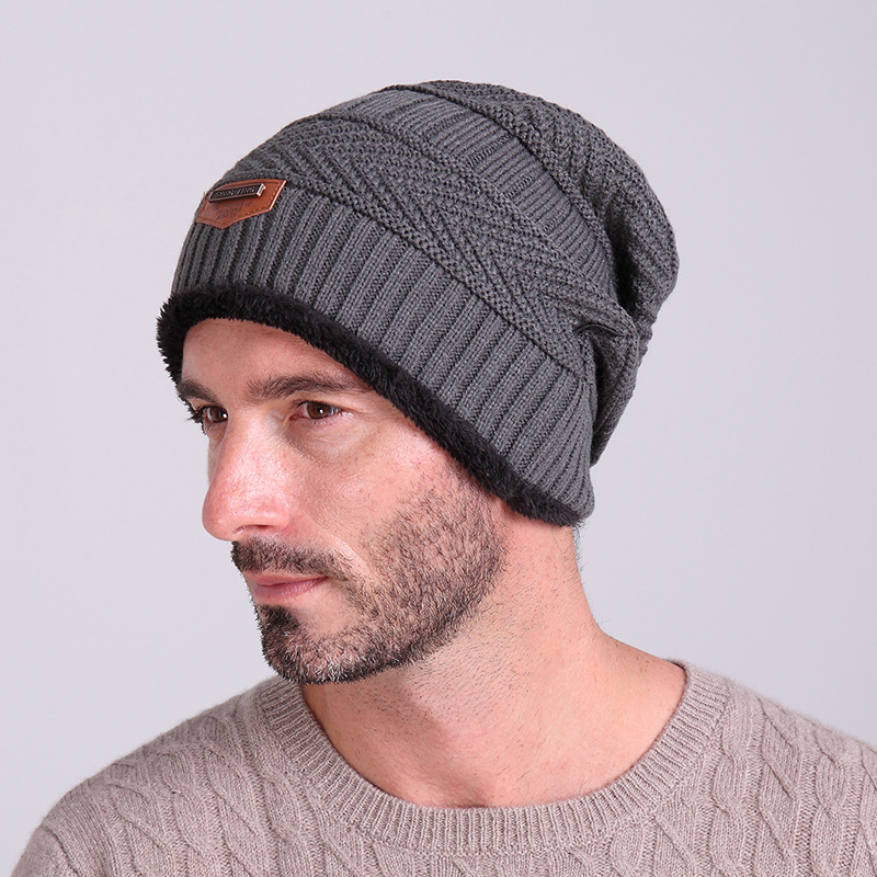 Mens winter hats knitted beanie hat for men Warm fashion cap male ... c8dd71c4674