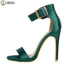 Luxury Brand 12 cm Women Summer Elegant Sandals Super High Heel Design Sexy Silk Classic Pump Party
