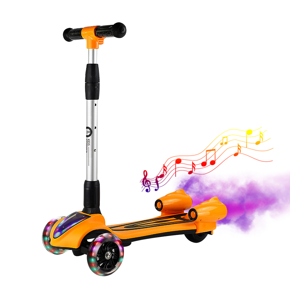 Adulte enfants coup de pied scooter pliable PU spray musculation tout en aluminium choc LED roue Flash poussette transport