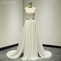 Sexy Wedding Dresses Side Slit Lace Backless Halter Real Photo New Designer Summer Beach Style Custom Made