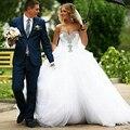 Vestidos Novia 2015 бальное платье свадебное платье для невесты возлюбленной-плеча вышитый бисером свадебные платья кружева Louisvuigon