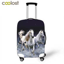High Elastic Luggage Protective Cover Horse Print Travel Accessories For 18-28 Inch Suitcase Carrier Luggage Cover Baggage Set(China)