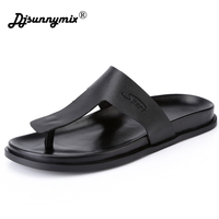 DJSUNNYMIX Men Black Flip Flop Casual Flats Summer Beach Slipper Men Comfort Design Flip Flops Shoes
