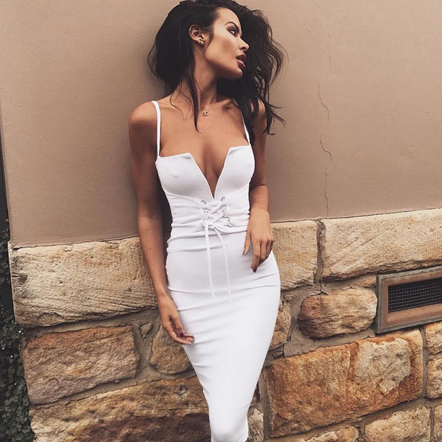 62f6cb00e1 White Bandage Lace Up Sexy Deep V neck Tank Dresses Women Off Shoulder  Sleeveless Tight Dress