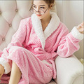 Outono Inverno Coral Fleece Casal Pijama Roupão de Banho Roupão de Flanela Grossa Quente dos homens das Mulheres do Sexo Feminino Desgaste Casa Peignoir Femme