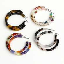 New Arrival Vintage Acrylic Acetate Hoop Earrings For Women Simple Fashion Colorful Leopard Resin Big Earring Jewelry Accessory