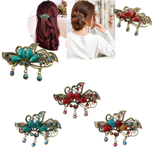3 Pieces Antique Spring Hair Clips Grips Metal Floral French Barrettes Accessories