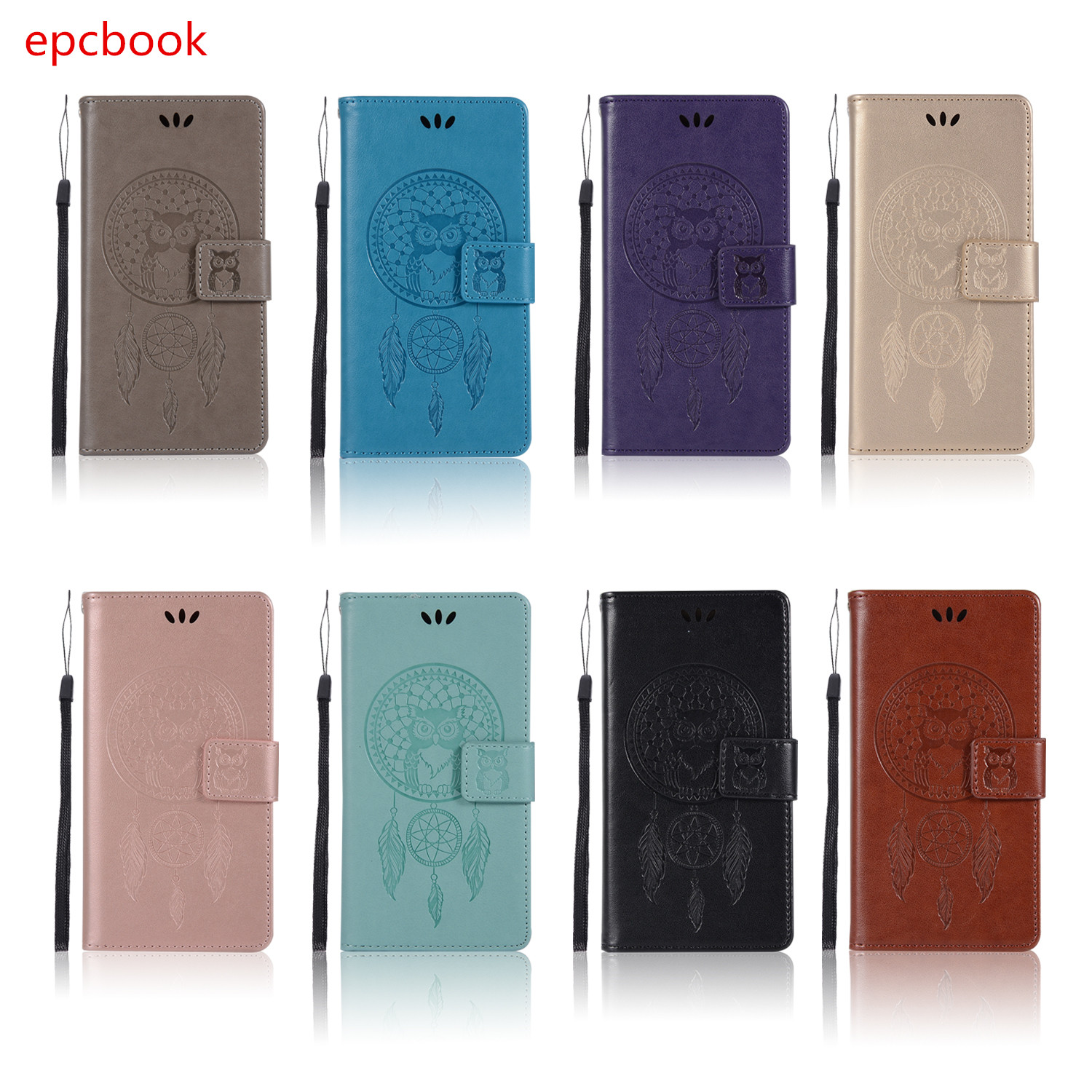 epcbook plain PU leather Wallet Case For huawei honor 9 8 8pro Case Luxury Flip Kickstand Phone Cover shell For honor 9i v9 owl