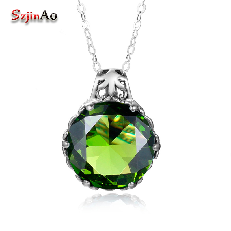 Szjinao Fashion 100% 925 Sterling Silver Green Peridot Stone Pendant Necklaces for Women Genuine Silver Jewelry Gift Wholesale szjinao cute genuine 100