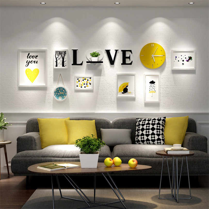 White Picture Frames Set+LOVE Letter+Yellow Clock Home Decoration Accessories Photo Frame Set Wooden Frames for Pictures Moldura
