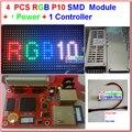 4 шт. модуля P10 полноцветный крытый + 1 шт. полноцветный асинхронный карты + 1 шт. питания + все кабели, 4 шт. P10 крытый rgb комплекты