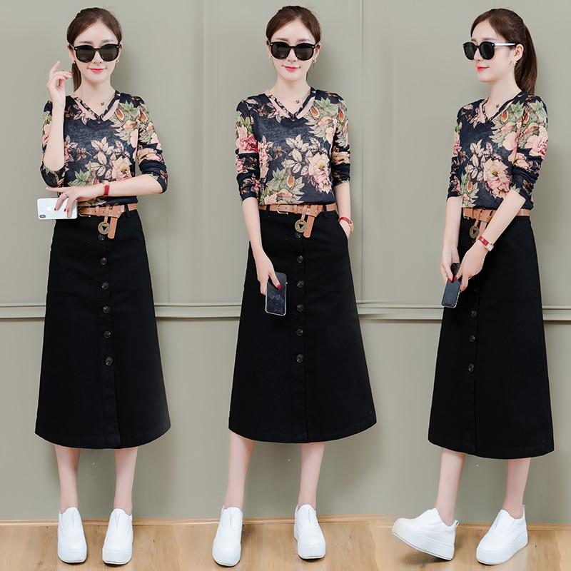 Ensembles de femmes 2019 nouveau été nouveau tempérament de mode dames slim manches courtes t-shirt chemise avec jupe midi deux pièces ensemble femmes