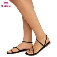 26b022e8 Damskie buty letnie seksowne sandały damskie Strappy Gladiator niskie  płaskie pięty klapki japonki plażowe sandały buty
