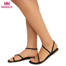 c1995355df5 Zapatos de mujer zapatos de verano sandalias Sexy señoras Strappy sandalias  tacón plano de Flip Flops
