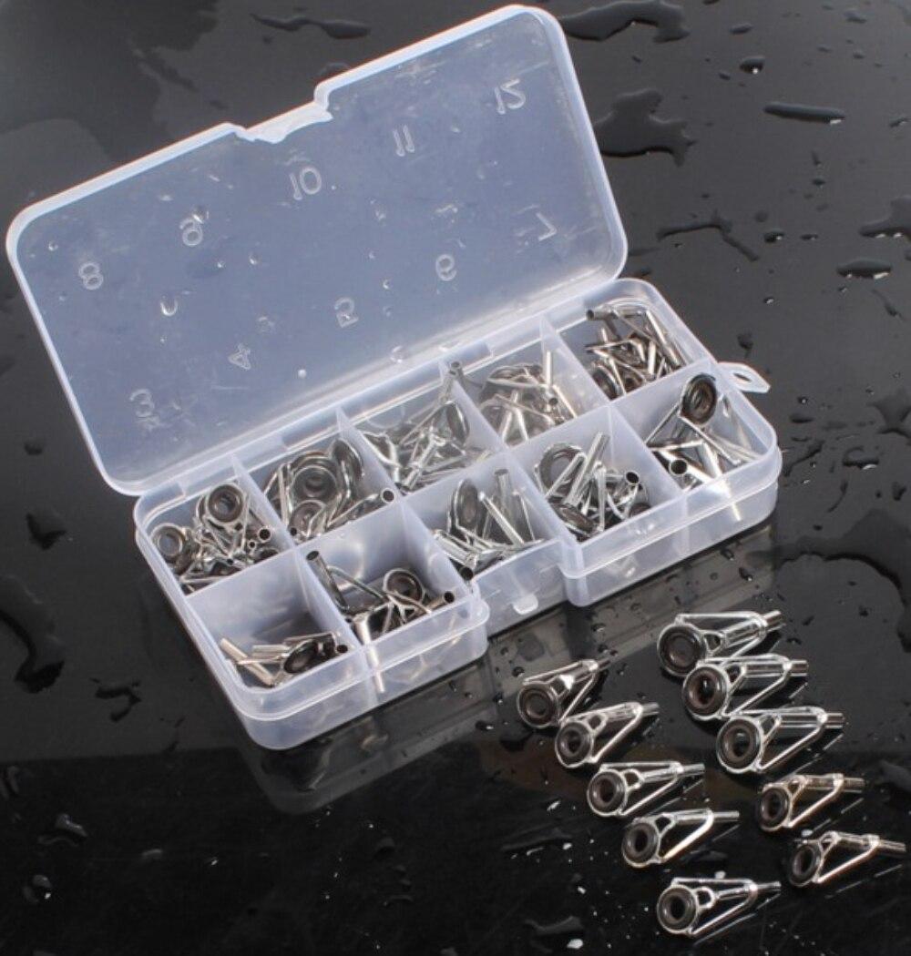 Fishing rod guide 80pcs box rod tip repair kit rod diy eye for Replacement eyes for fishing rods