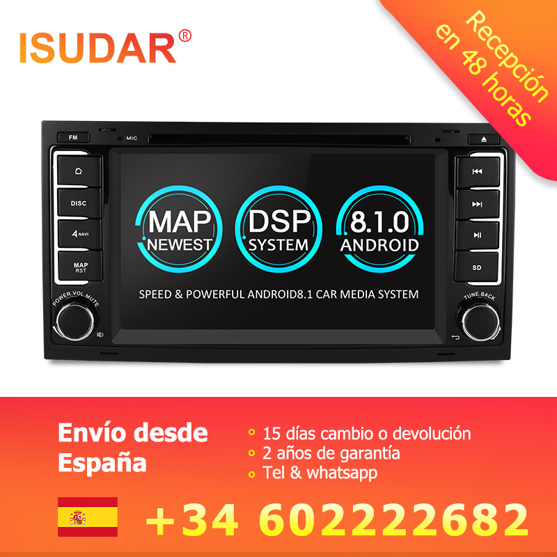Isudar Voiture lecteur Multimédia Android 8.1 GPS 7 Pouces 2 Din Autoradio Pour VW/Volkswagen/Touareg Canbus Wifi FM Radio USB DVR