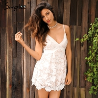 Simplee Sexy Embrodery Flower Elegant Jumpsuit Romper V Neck Strap Bow Tie White Lace Playsuit Women