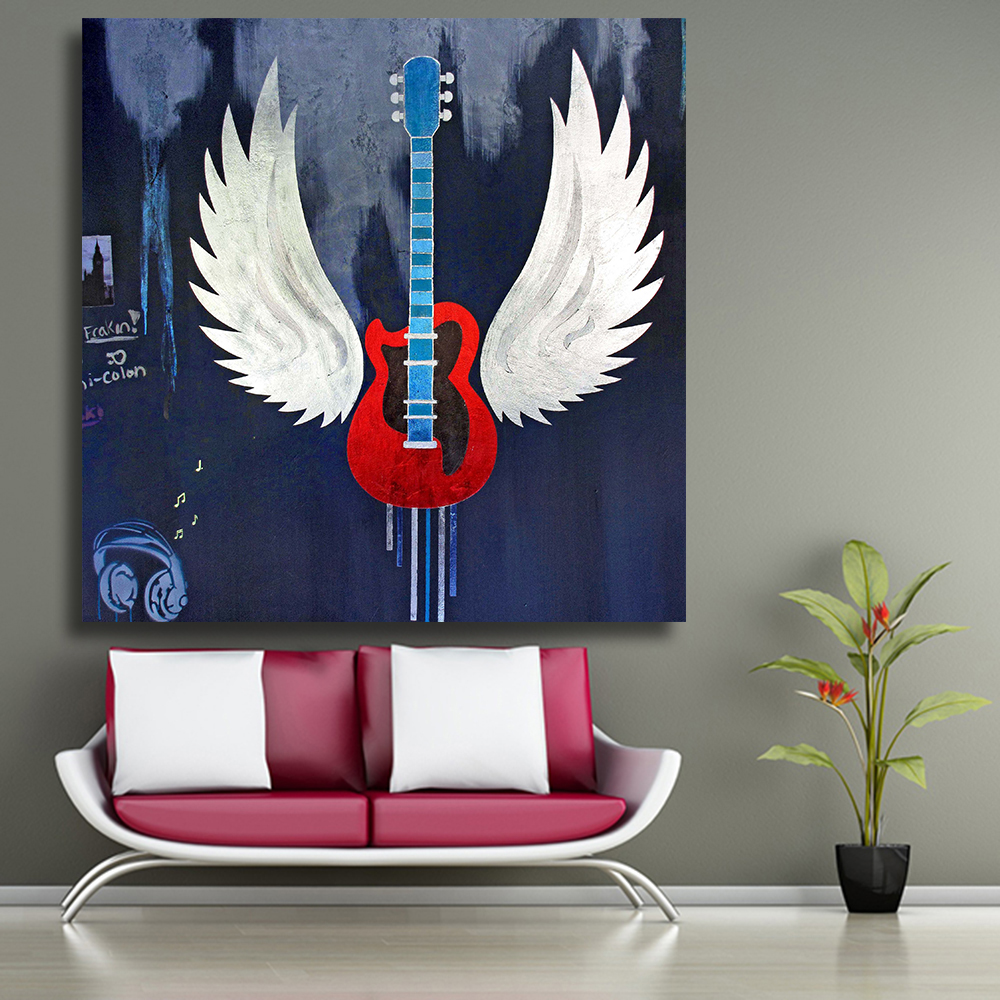 CHENFART Wall Art Canvas Prints metallic guitar mural Oil Painting Decorative Pictures for bathRooms no Frame -in Painting u0026 Calligraphy from Home u0026 Garden ... & CHENFART Wall Art Canvas Prints metallic guitar mural Oil Painting ...