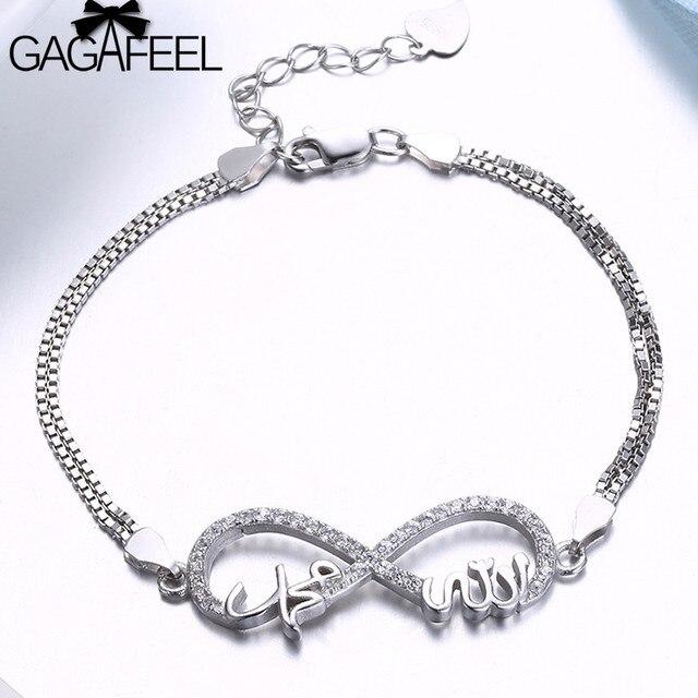 Gagafeel Real 925 Sterling Silver Forever Love Chain Bracelet