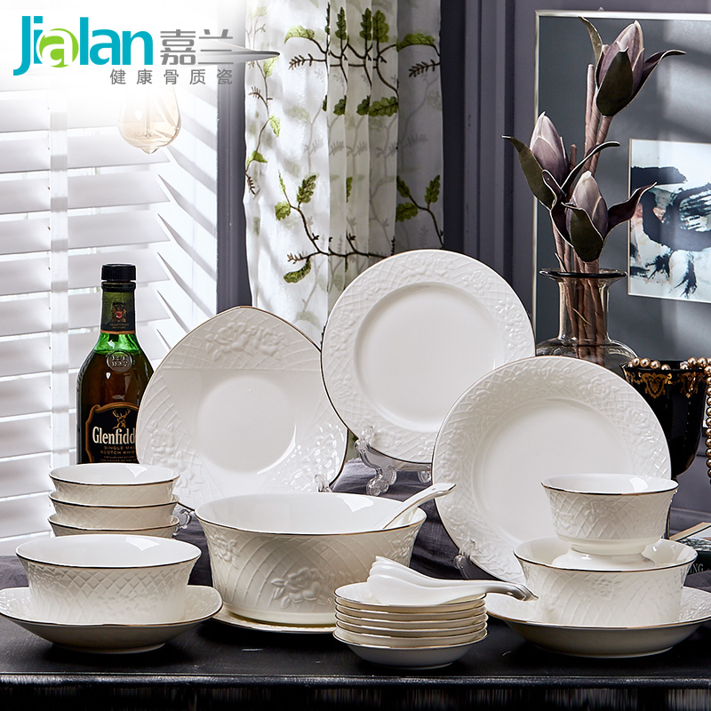 Garland dishes 28 head bone china tableware suit domestic European simple platinum gold embossed
