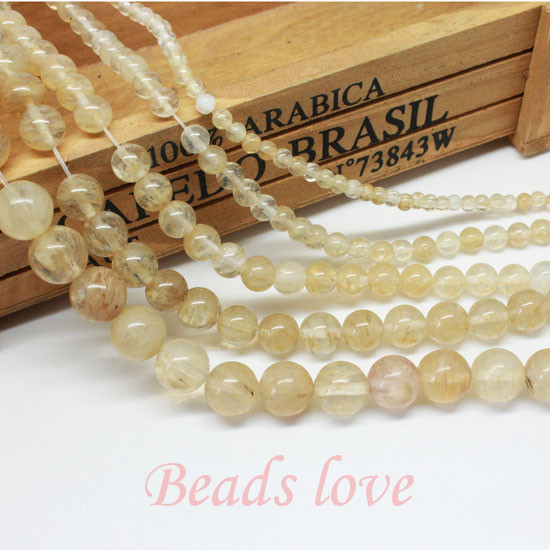 "wholesale Natural Stone Smooth Citrines Quartz Loose Beads For Jewelry Making Diy 15.5"" Pick Size 4 6 8 10 12mm Free Shipping"