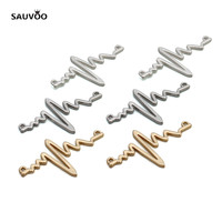 SAUVOO 10PC Alloy Heart Rate Bracelet Charms Necklace Pendants 49*30mm Gold Silver Rhodium Color for DIY Jewelry Making