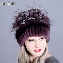 DUOUPA Fur Winter Hat for Women 100% Real Rex Rabbit Fox Caps lady winter warm Headwear Womens fur hats