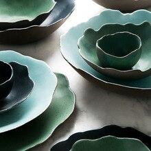 Наборы керамической посуды, тарелка для еды, миска для риса, неправильные тарелки большого размера, зеленая фарфоровая тарелка для стейка, эко-друг