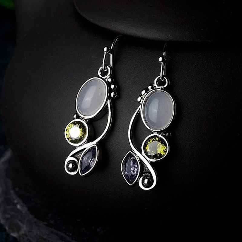 Natural Moonstone Drop Earrings For Women Elegant Vintage Colorful Crystal Silver Oval Shaped Dangle Earring Statement Jewelry