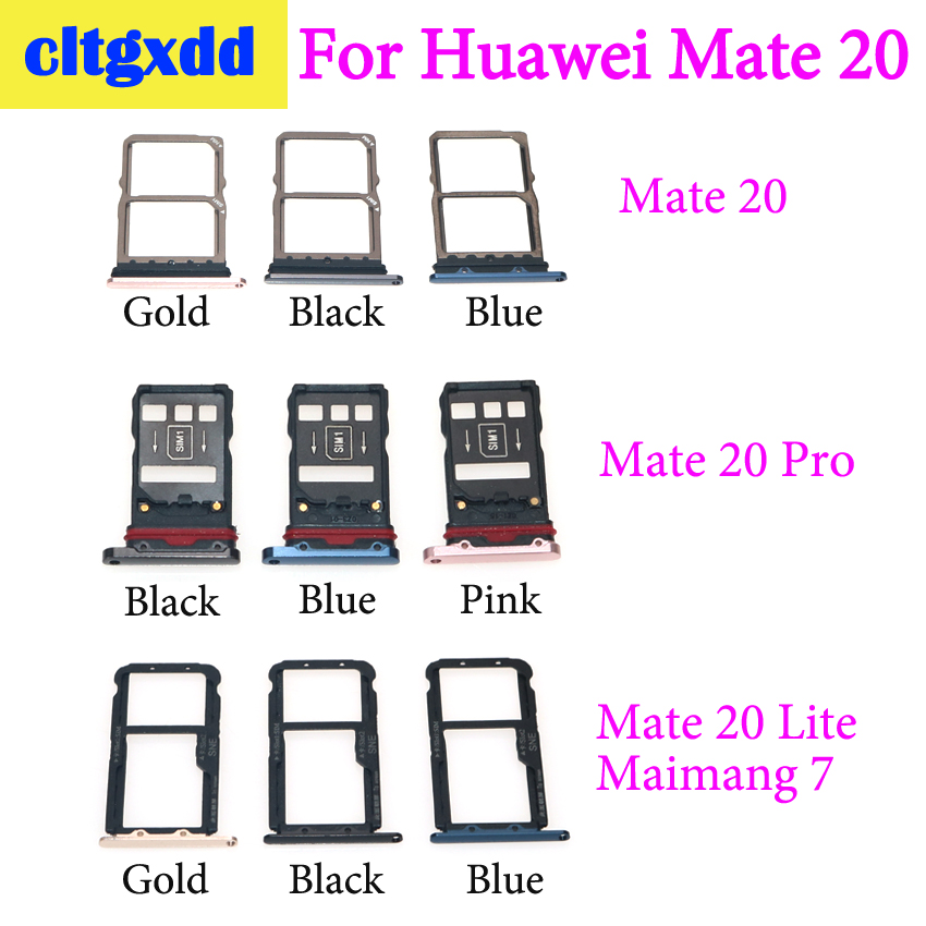 Cltgxdd For Huawei Mate 20 Lite / Maimang 7 For Mate20 Pro  Micro Sim Card Holder Slot Tray Replacement Adapters