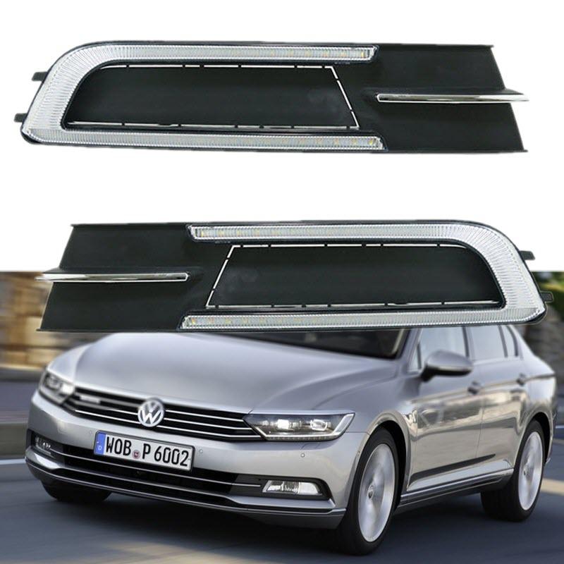 Car Styling for Volkswagen Passat Russia 2015 DRL LED Daytime Running Lights Car Fog Front Bumper