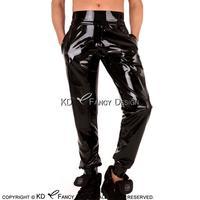 Черный сексуальный латекс брюки с карманами и шнуровкой спереди резиновые брюки CK 0062