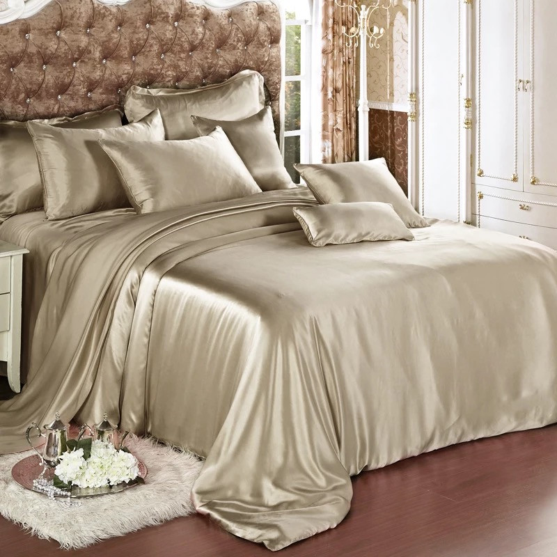 100% Mulberry Silk 19mm Seamless Champagne Beige Pink Purple Colors King size Sheet Duvet Cover 4 pieces Set Customize MS03