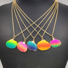 Natural color shell necklace sweet fashion conch gold female handmade marine pendant beach party jewelry