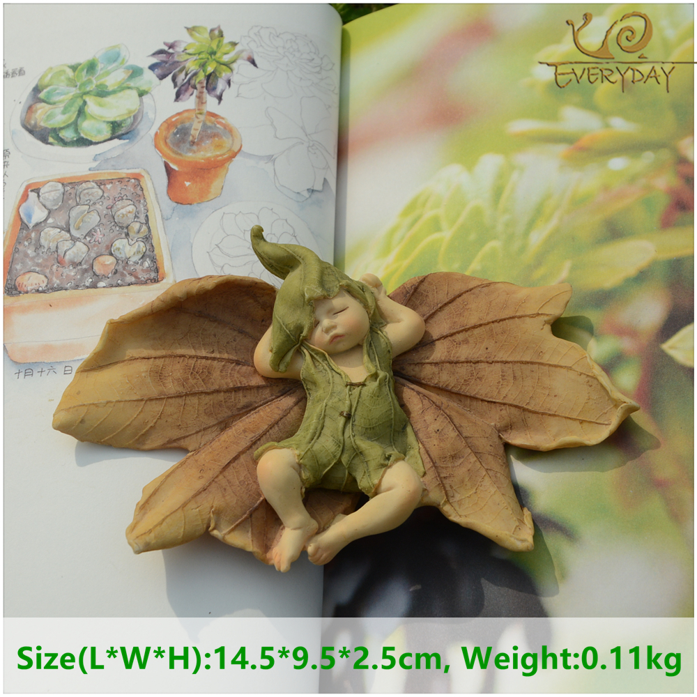 Everyday Collection Angel Figur Miniature Fairy Garden Ornament Leaf baby juletræ dekoration til hjem julegave