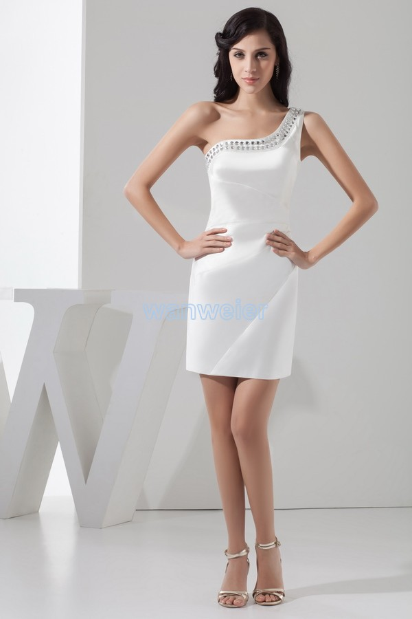 free shipping 2015 new hot sexy formal Party gown one shoulder crystal custom size/color white short mini   Cocktail     Dresses