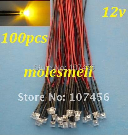 Free Shipping 100pcs Flat Top Yellow LED Lamp Light Set Pre-Wired 5mm 12V DC Wired 5mm 12v Big/wide Angle Yellow Led