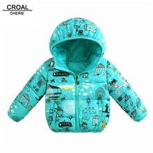 CROAL CHERIE 80-130cm Winter Parks Jacket For Girls Child Windbreaker Graffiti Printing Clothes For Boys Kids Girls Winter Coat